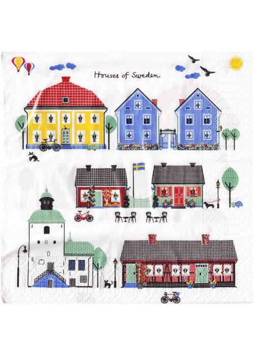 Servetten zweedse huisjes