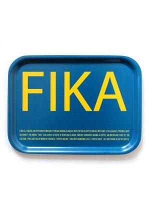 Bricka Fika - blå/gul