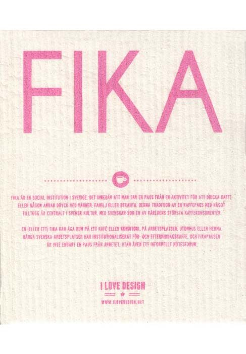 Dishcloth fika pink sweden