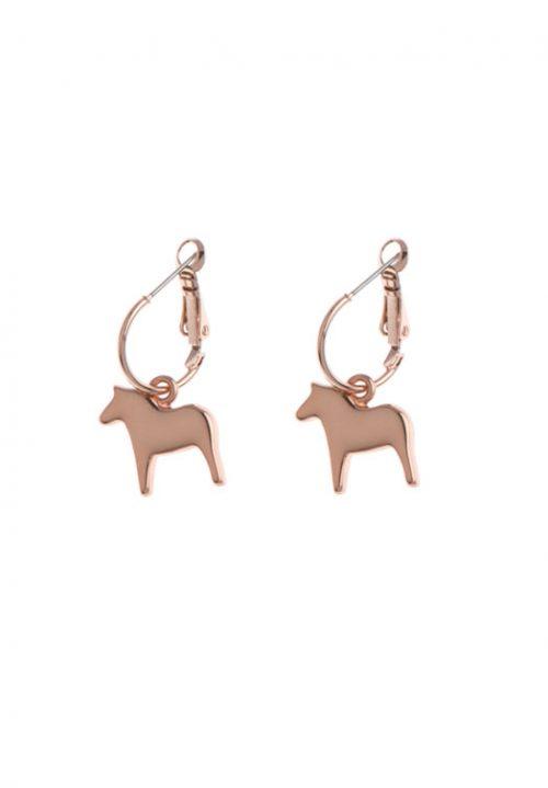 roze oorhangers dala paard