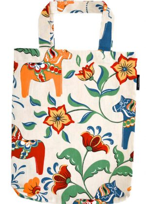 Dala horse beige carrier bag