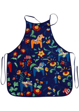 Kitchen apron - dala horse blue