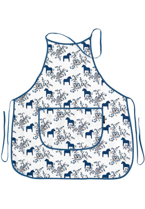 Kitchen apron dala horse kurbits blue
