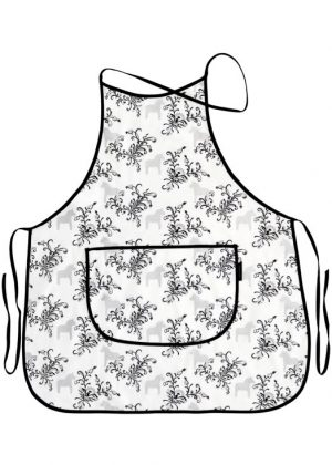 Kitchen apron dala horse kurbits gray