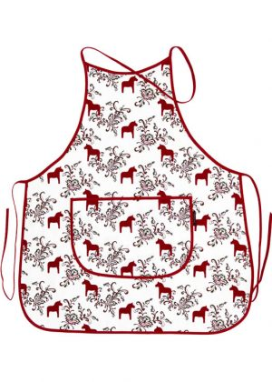 Kitchen apron dala horse kurbits red