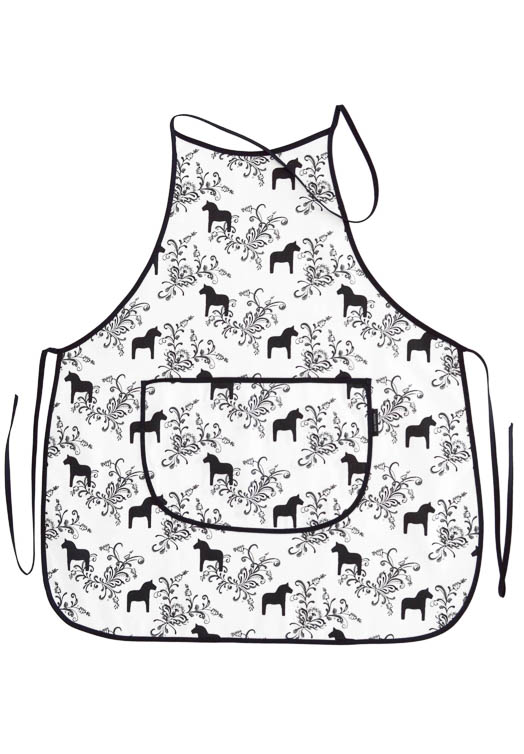 Kitchen apron dala horse kurbits black