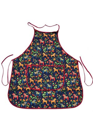 Kitchen apron - dala horse mini blue
