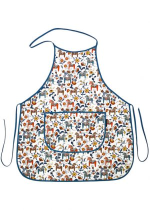 Kitchen apron - dala horse mini white