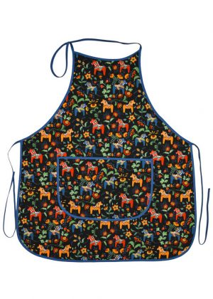 Kitchen apron - dala horse mini black