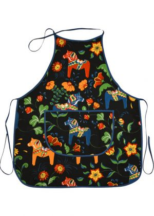 Kitchen apron - dala horse black