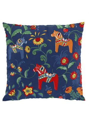 Dala horse blue cushion cover