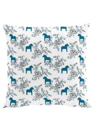 Dala horse kurbits blue cushion cover