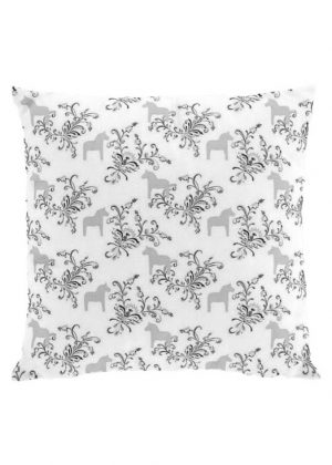 Dala horse kurbits gray cushion cover