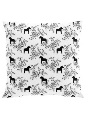 Dala horse kurbits black cushion cover