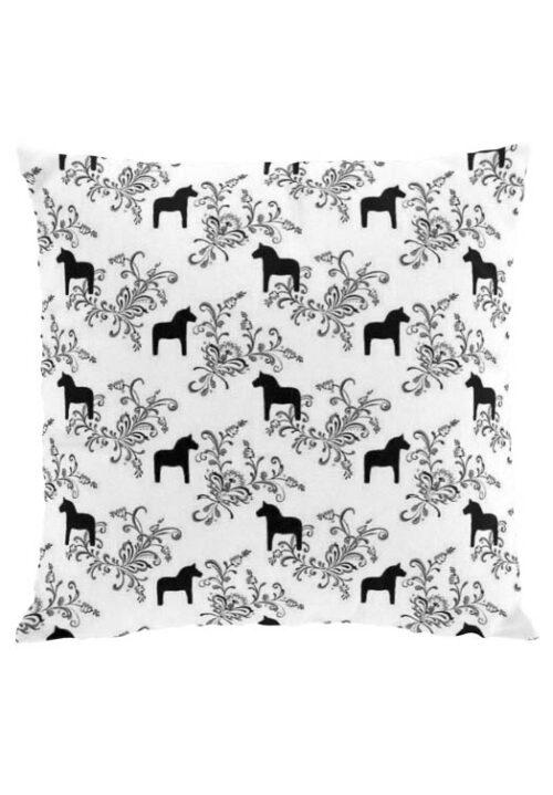 Dala horse kurbits black cushion cover
