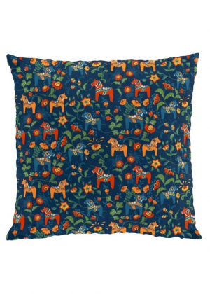 Dala horse mini blue cushion cover