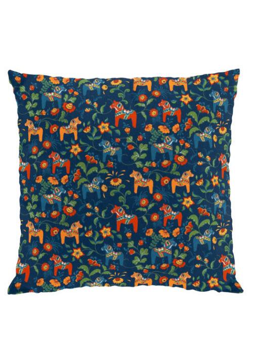 Dala horse mini blue cushion cover