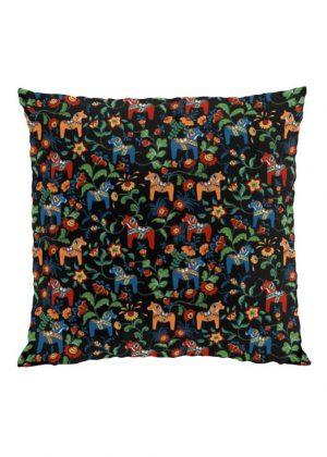 Dala horse mini black cushion cover