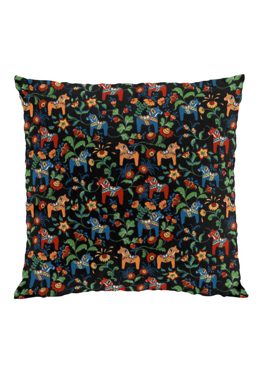 Dala horse mini black cushion cover