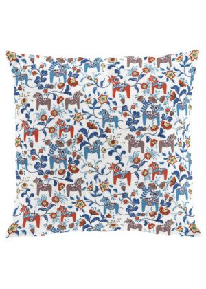 Dala horse mini white cushion cover