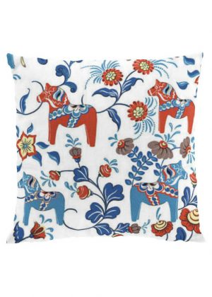 Dala horse white cushion cover