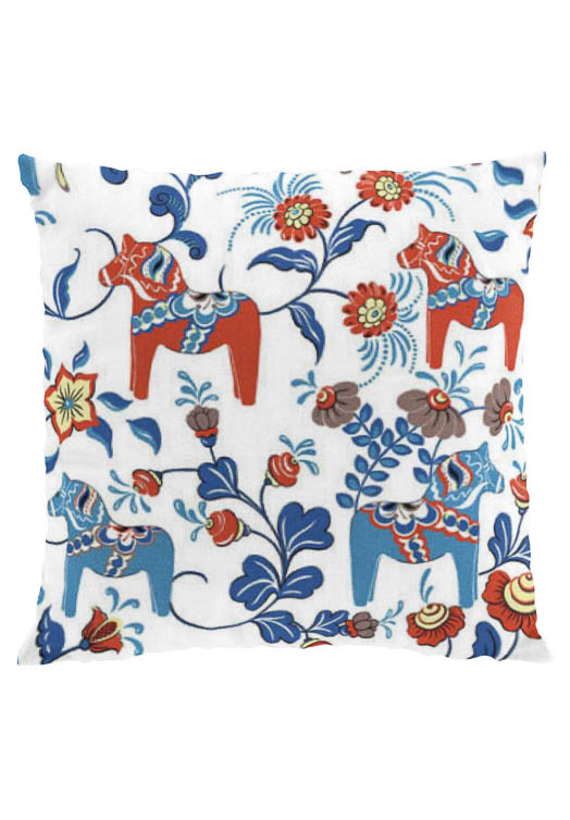 Dala horse white cushion cover