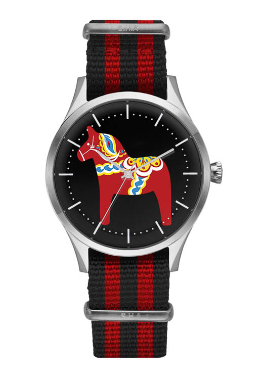 Dala horse wrist watch red