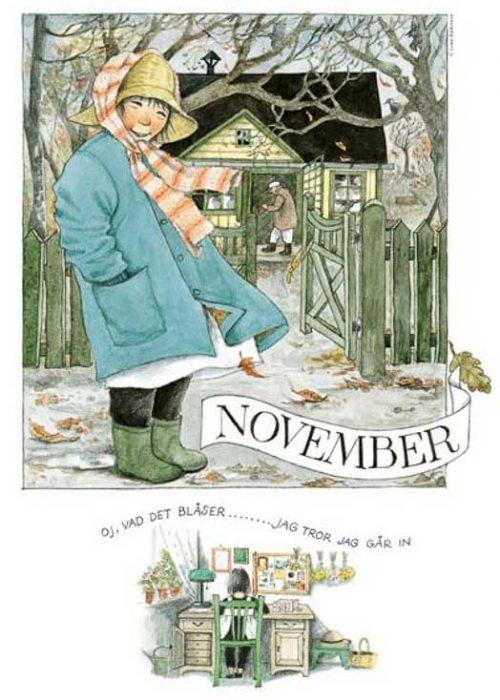 Linnea monthly poster Lena Anderson November