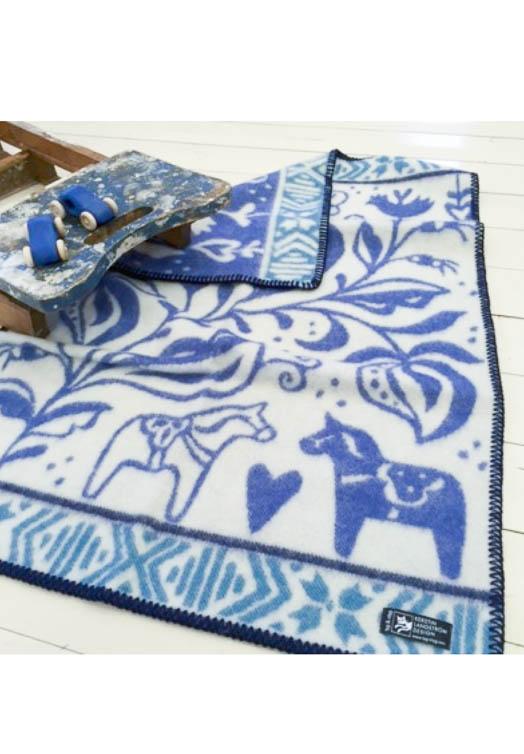 Dala paard wollen babydeken blauw