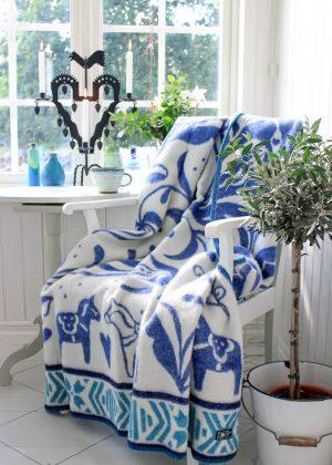 Dala paard wollen deken blauw