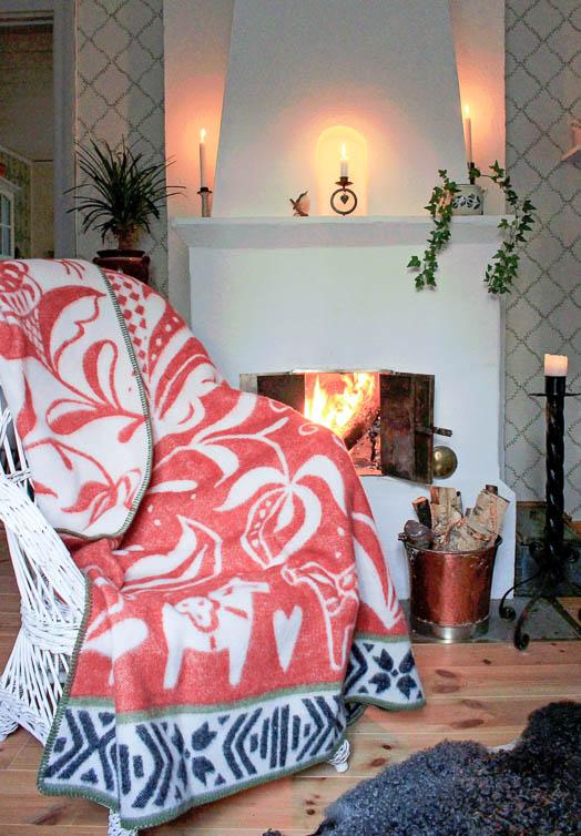 Dala paard wollen deken rood