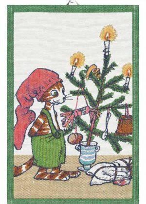 Pettson & Findus Theehanddoek Kerstfeest Ekelund Linnevaveri