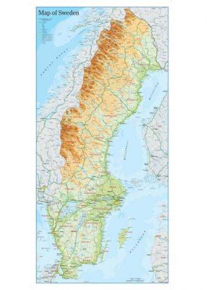 Wandkaart Zweden 46 x 94