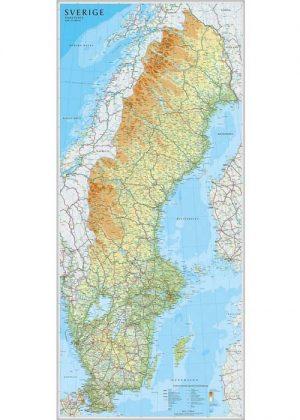 Wandkaart Zweden 55 x 123