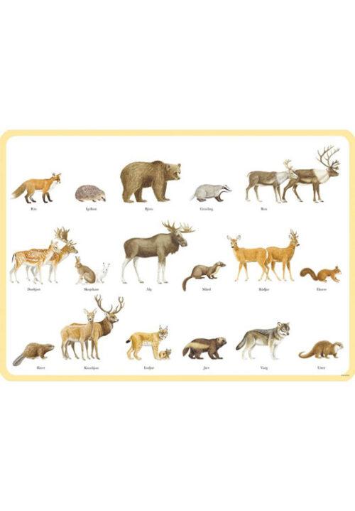 Zweedse zoogdieren placemat