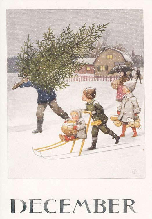 Zweedse kerstkaarten Lille Elsa Beskow